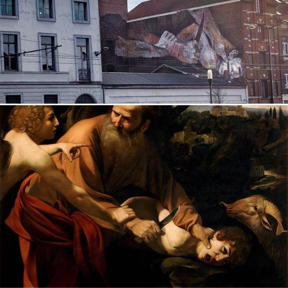 The painting is located on a building by the Porte de Flandre. It is a reproduction of detail from a work by 16th-century Italian painter Caravaggio. It depicts the patriarch Abraham about to sacrifice his son Isaac on God's orders, only to be restrained by an angel. The original (pictured) hangs in the Uffizi gallery in Florence.